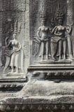 Khmer angkor wat Kambodja van steengravures stock foto's