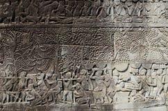 Khmer angkor wat Kambodja van steengravures royalty-vrije stock afbeeldingen