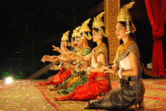Khmer apsara dance. Is a form of traditional dance from Cambodia. In this picture, the performance is at local restaurant, Siem Reap Stock Photos