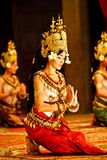 Khmer apsara dancers in traditional costume. SIEM REAP, CAMBODIA - DECEMBER 28, 2008: 3 Khmer classical dancers performing in full traditional costume on Stock Images