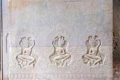 Khmer art carvings on the wall of Angkor Wat Royalty Free Stock Photography