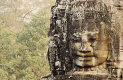 Khmer Buddha Head at Bayong Temple Royalty Free Stock Photos