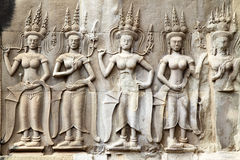 Khmer carving in Angkor Royalty Free Stock Photography