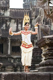 Khmer classical dancer performing. SIEM REAP, CAMBODIA - MARCH 04, 2012: Khmer classical dancer performing in full traditional costume MARCH 28, 2012 in Siem royalty free stock photography