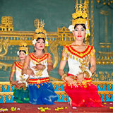 Khmer classical dancers in Siem Reap, Cambodia. SIEM REAP, CAMBODIA - NOV 21. 2013: Khmer classical dancers performing in traditional costume on Nov 21, 2013 in Royalty Free Stock Photo