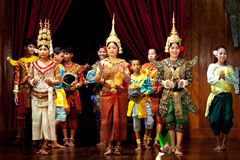 Khmer dancers, Cambodia. SIEM REAP, CAMBODIA - JANUARY 11: Khmer dancers performing in traditional costume on January 11, 2013 in Siem Reap, Cambodia. Apsara Stock Photography