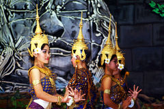 Khmer dancers. A old traditional khmer dance in a theater of siem reap in cambodia Stock Images