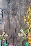 Khmer Devata-Göttinnen im Herzen von Preah Khan Temple, Angkor Lizenzfreie Stockfotografie