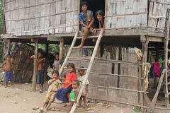 Khmer Family of Cambodia. Some of Khmer kids and their parent. Living in poverty but quite happy Stock Images
