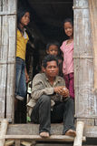 Khmer Family in Kampong Cham Stock Photo