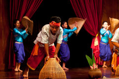 Khmer Folk Harvest Dance Stock Photo