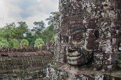 Khmer glimlach in Bayon-tempel Stock Afbeeldingen