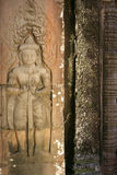 Khmer guard. Figure of Khmer guard carved in Angkor Stock Photos