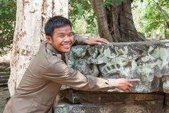 Khmer Guide At Banteay Kdei In Cambodia Royalty Free Stock Images
