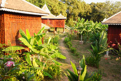 Khmer house and banana trees Stock Images