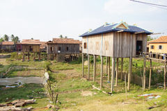 Khmer house built on stilts stock photos
