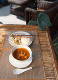 Khmer A-mok with rice and vegetable salad Royalty Free Stock Image