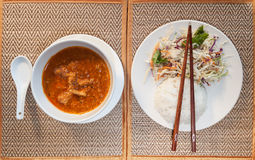 Khmer A-mok with rice and vegetable salad Royalty Free Stock Photo