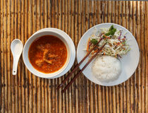 Khmer A-mok with rice and vegetable salad Stock Image
