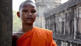 Khmer monk portrait. Cambodian monk in angkor wat temple stock video footage