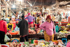 Khmer people shopping at traditional marketplace. Siem Reap, Cambodia Royalty Free Stock Photos