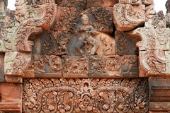 Khmer relief in Banteay Srei Royalty Free Stock Images