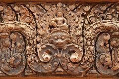 Khmer relief in Banteay Srei Stock Photography
