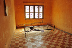 Khmer Rouge prison cell. Prison cell at Tuol Sleng prison, also called Security Prison 21 (S-21), which was used by the Khmer Rouge communist regime from 1975 to royalty free stock photo
