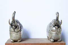 Khmer silver elephant shaped box. The elephant raised trunk,symbol of good luck. Royalty Free Stock Images