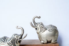 Khmer silver elephant shaped box. The elephant raised trunk,symbol of good luck. Royalty Free Stock Photography