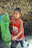 Khmer small boy fishing Stock Photo