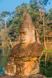 Khmer statue south gate bridge Angkor Thom Stock Image