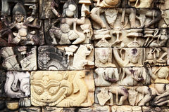 Khmer stone carving. Ancient khmer stone carving in Angkor Thom, Cambodia royalty free stock photography