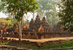 Khmer temple Banteay Srei. Early in the morning stock photo