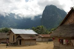 Khmer Village in Luang Prabang, Laos on November 2013 Royalty Free Stock Photos