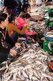 Khmer woman cleaning and selling fish at food marketplace Stock Images