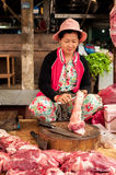 Khmer woman selling meat marketplace. Siem Reap, Cambodia Royalty Free Stock Photography
