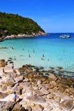 kho陶海湾小岛白色海滩游泳和南池氏的亚洲 免版税图库摄影