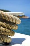 kho陶海湾小岛白色船绳索和南anch的亚洲 库存图片