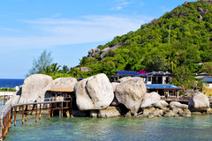 Kho  isle white  beach    rocks house boat in thailand Royalty Free Stock Photo