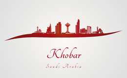 Khobar skyline in red Royalty Free Stock Photography
