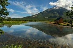 Khodutkinskiye hot springs at the foot of volcano Priemysh. South Kamchatka Nature Park. Khodutkinskiye hot springs at the foot of the volcano Priemysh. South stock photography