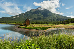Khodutkinskiye hot springs at the foot of volcano Priemysh. South Kamchatka Nature Park. Royalty Free Stock Images