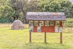 Khoi hut and information board in Genadendal Stock Image