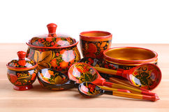 Khokhloma厨房器物 库存图片