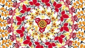Khokhloma Αφηρημένο fractal υπόβαθρο μετασχηματισμού Loopable Ζωγραφική Khokhloma Ρωσία των φωτεινών κόκκινων λουλουδιών και απεικόνιση αποθεμάτων