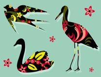 Khokhloma цветочного узора силуэтов птиц Стоковое Изображение RF