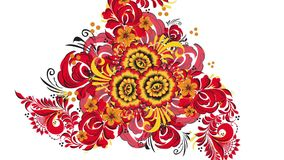 Khokhloma. Abstract fractal transformation background. Loopable. Painting Khokhloma Russia of bright red flowers and. Berries on white background. Abstract stock footage
