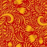Khokhloma adornó textura inconsútil Imagenes de archivo