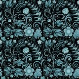 Khokhloma blue. Floral seamless background (blue berries and flowers on black). Vector illustration Stock Image